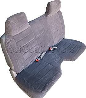 RealSeatCovers for Front Bench Thick Triple Stitched A27 Molded Headrests Large 5 to 7 inch Shifter Cutout Seat Cover for Chevy S10 GMC Sonoma S15 1991 1997 (Dark Gray)