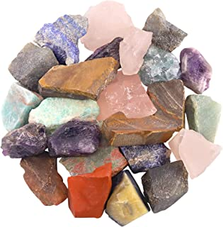 Hilitchi 1lb Bulk Raw Assorted Stone Rough Crystal Stone for Cabbing, Tumbling, Cutting, Polishing, Wire Wrapping,Gem Mini...