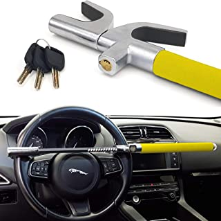 WARRIOR WA839Y Anti-Theft Bar Car Steering Wheel High Security Universal Adjustable Self Defense 3 Keys Yellow Plus Deterrent