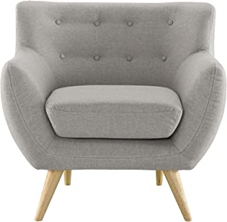 Modway Remark Mid-Century Modern Accent Arm Lounge Chair with Upholstered Fabric in Light Gray