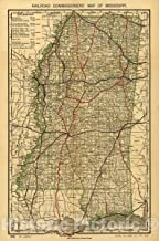 Historic 1888 Map - Railroad commissioner's map of Mississippi. 44in x 67in