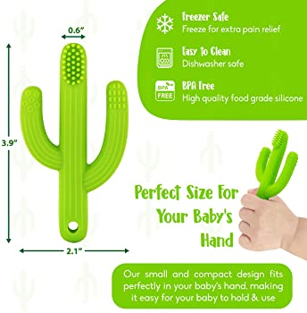 Cactus Baby Teething Toys Toothbrush | Self-Soothing Pain Relief Soft Silicone Teether Training Toothbrush for Babies...