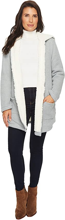 Sweater and Faux Fur Reversible Cardigan Jacket