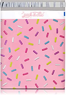 Pack It Chic - 10X13 (100 Pack) Sprinkles Pattern Poly Mailer Envelope Plastic Custom Mailing & Shipping Bags - Self Seal (More Designs Available)