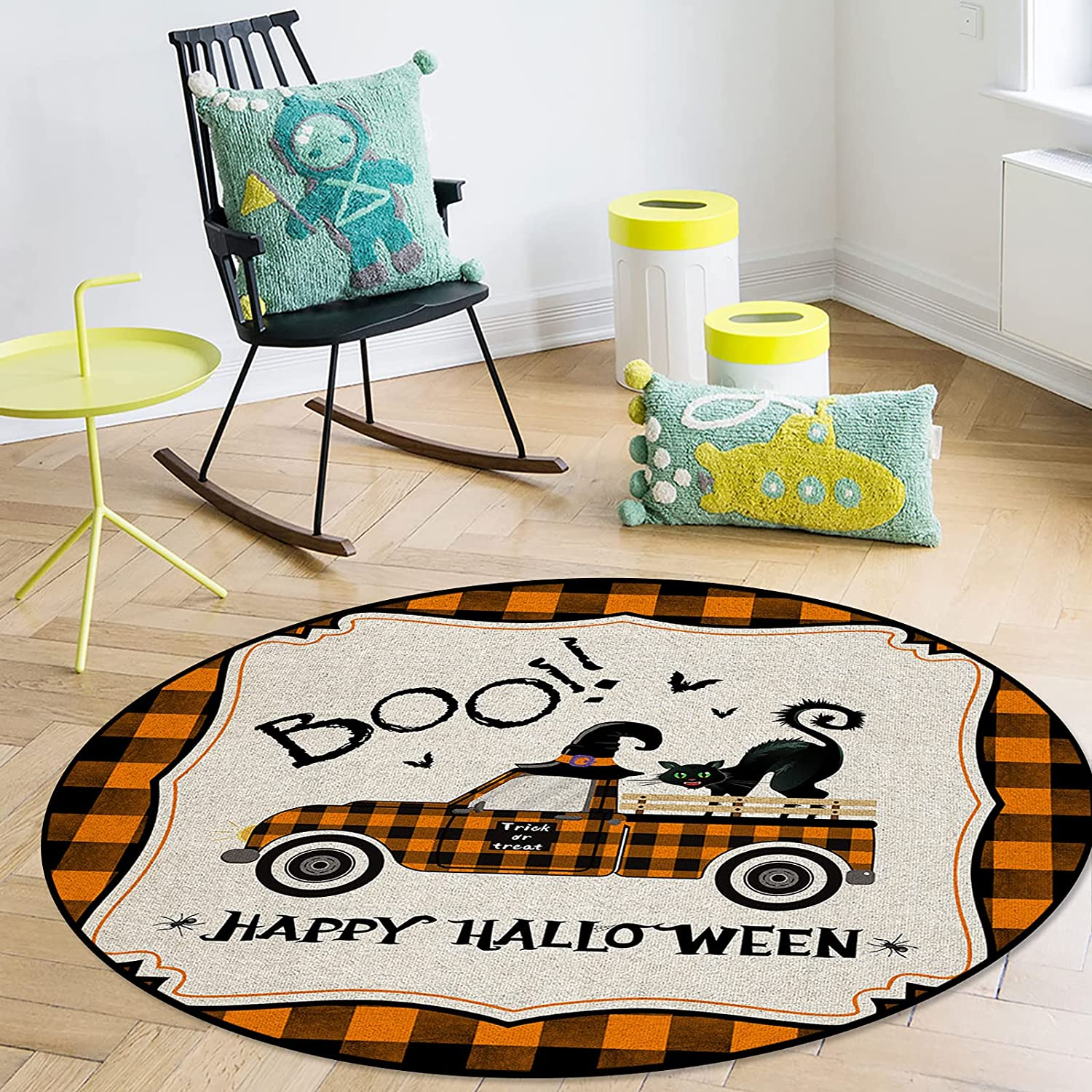 Advancey Round Area Rug Indoor Soft Rugs Truck B Sacramento Mall Witch Halloween Max 59% OFF
