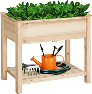 YAHEETECH Wooden Raised Elevated Garden Bed Kit with Legs Planter Flower Herb Boxes for Vegetables Flower with Shelf Solid...