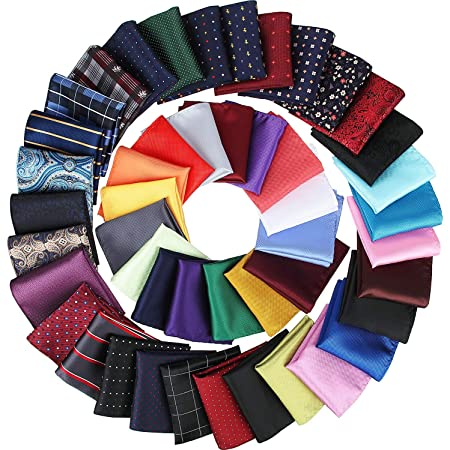 Mens Pocket Squares Handkerchief 6 PK Wedding Party Solid Color Handkerchiefs