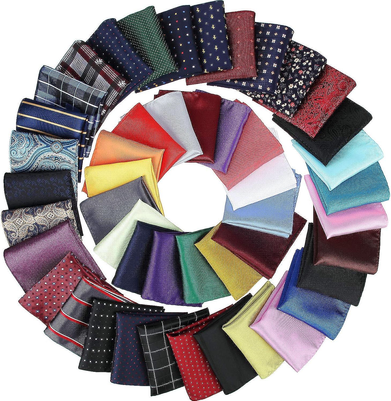 SATINIOR 47 Pieces Men Pocket Square Handkerchief Soft Colored Hankies for Party Wedding, Multicoloured, 8.3 x 8.3 inch/ 21 x 21 cm