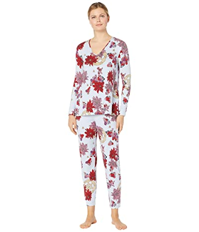 N by Natori Floral Medallion PJ (Red/Baby Blue) Women