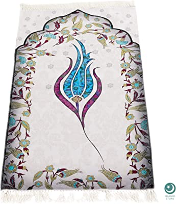Muslim Prayer Rug, Turkish Islamic Mats, Ramadan Gifts Women, Men, Kids, Portable , Small Salah Carpet, Blue 46 x 27 inch