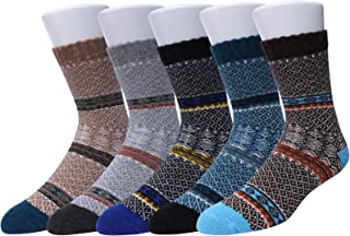 WYTartist Mens Socks Winter 5 Pairs Vintage Style Knit Wool Socks Soft Warm Winter Fall Crew Socks
