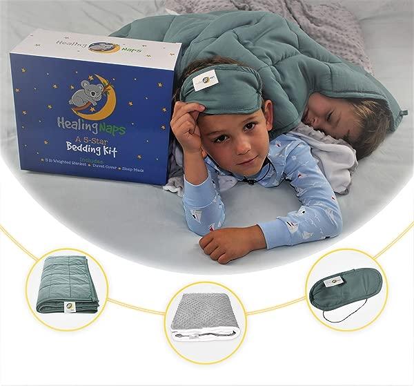5 磅高级竹制加重毛毯儿童床上用品套件 3 件套 36X48 防过敏冷却竹制重毛毯柔软 Minky 圆点羽绒被罩遮光睡眠眼罩