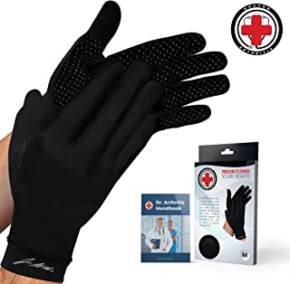 Doctor Developed Copper Gloves/Compression Gloves for Arthritis (Full-Length) and Doctor Written Handbook— Relieve Arthritis Symptoms, Raynauds Disease & Carpal Tunnel (L)