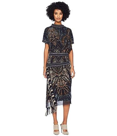 FUZZI Paisley Fringe Dress (Nero) Women