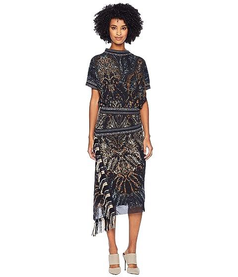 FUZZI Paisley Fringe Dress