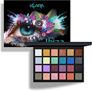 Klara Cosmetics 24 Shade Eyeshadow Palette Ibiza glamorous shimmers bold mattes strong pastel tones long lasting full pigment