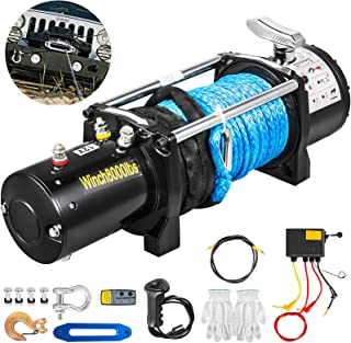 Bestauto Truck Winch 8000Ibs Electric Winch Synthetic Rope 90ft/27.4m 12V Power Winch Jeep Winch with Wireless Remote Control Powerful Motor for UTV ATV & Jeep Truck Wrangler Accessories in Car Lift