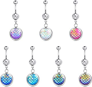 LOLIAS 7Pcs 14G Dangle Belly Button Rings for Women Girls 316L Surgical Steel Curved Navel Barbell Body Jewelry Piercing