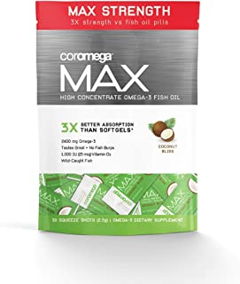 Coromega Max High Concentrate Omega-3 Fish Oil, Coconut Bliss, 30 Squeeze Packets (Pack of 2)