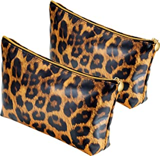 2 Pieces Leopard Makeup Bag Leopard Print Cosmetic Cute Pouch Leopard Clutch Organizer Purse Handbag Toiletry Travel Brush Bag for Women