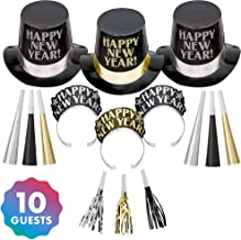 Amscan Midnight Elegance Black, Gold and Silver New Year's Party Kit for 10, Includes Top Hats and Tiaras