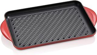 Le Creuset 20202320600460 Parrilla Rectangular, Apto para todas las fuentes de calor, incl. inducción, Hierro Fundido, Rojo(Cereza)
