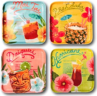 Tommy Bahama Tropical Drinks Cocktails Melamine Canape Appetizer Plates 4