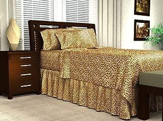 Leopard Print Satin Flat Sheet, Queen