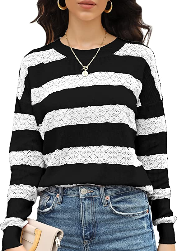 LOLLO VITA Women Crochet Sweaters Hollow Out Soft Pullover Shell Pointelle Knit Casual Loose Jumper Tops