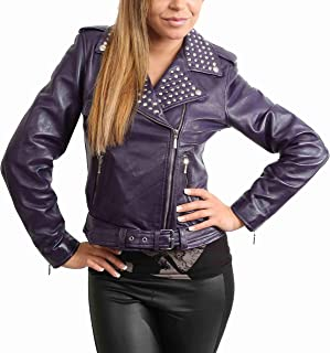 HOL Ladies Real Leather Biker Style Studded Jacket with Belt Fitted Cut Sally Purple