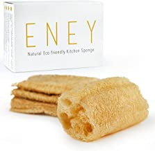 ENEY Eco-Friendly Natural Kitchen Washing Up Sponge | 100% Plant-Based Biodegradable | Four Pack of Non-Odor Dish Sponges | Sustainable Unbleached Loofah | Plastic-Free