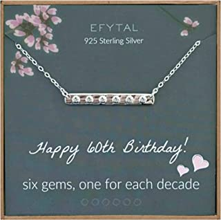 EFYTAL 60th Birthday Gifts for Women, 925 Sterling Silver Six CZ Bar Necklace For Her, 6 Decade Jewelry 60 Years Old