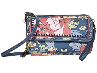 Sakroots Luna Smartphone Crossbody (Denim Flower Power) Cross Body Handbags