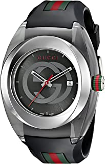 SYNC XXL Stainless Steel Watch with Black Rubber...