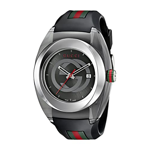 Gucci SYNC XXL Stainless Steel Watch with Black Rubber Bracelet(Model:YA137101)