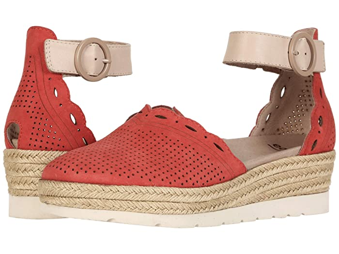Earth  Yarrow (Bright Coral Silky Suede/Nude Soft Calf) Womens Flat Shoes