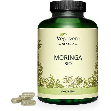 BIO Moringa Oleifera Vegavero® | La Dosis Más Alta: 1800 mg | 270 Cápsulas | Superfood: Proteínas, Vitaminas, Minerales y Omega 3 | Antioxidante | Libre de Aditivos | Vegana | Superalimentos