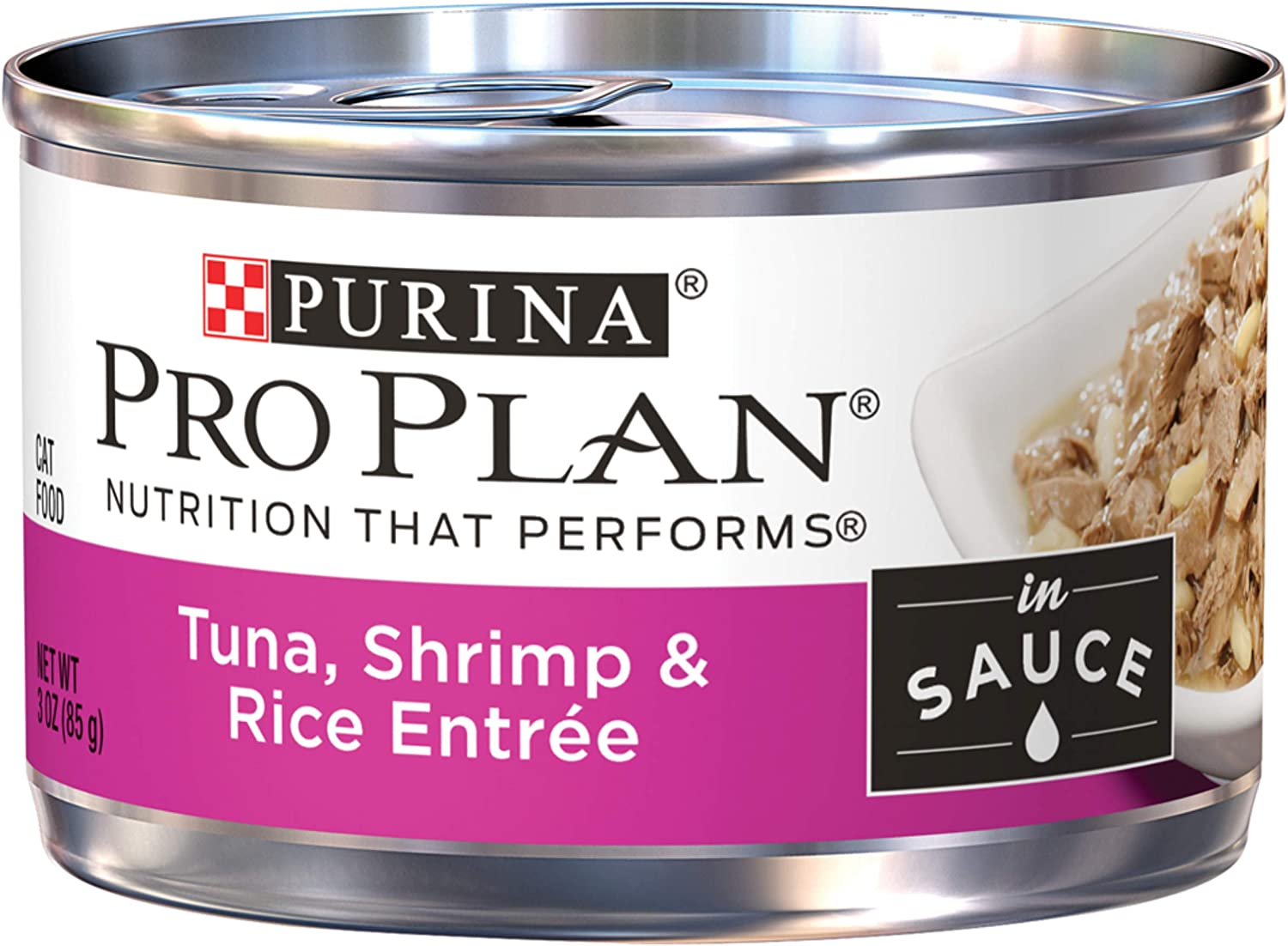 Purina Pro Plan Wet Cat Food, Savor, Tuna Shrimp & Rice Entre, 3Ounce Can, Pack Of 24