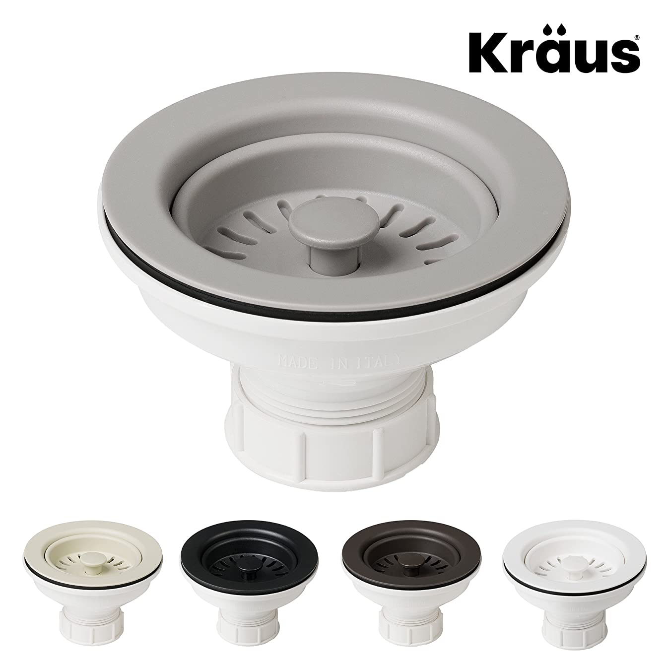 Kraus Kitchen Sink Strainer for 3.5-Inch Drain Openings in Grey