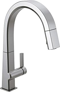 Delta Faucet Pivotal Single-Handle Kitchen Sink Faucet with Pull Down Sprayer and Magnetic Docking Spray Head, Arctic Stai...