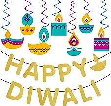 Diwali Decorations for Party,Funnlot 15PCS Diwali Decorations for Home With Glitter Happy Diwali Banner Diwali Hanging Swi...