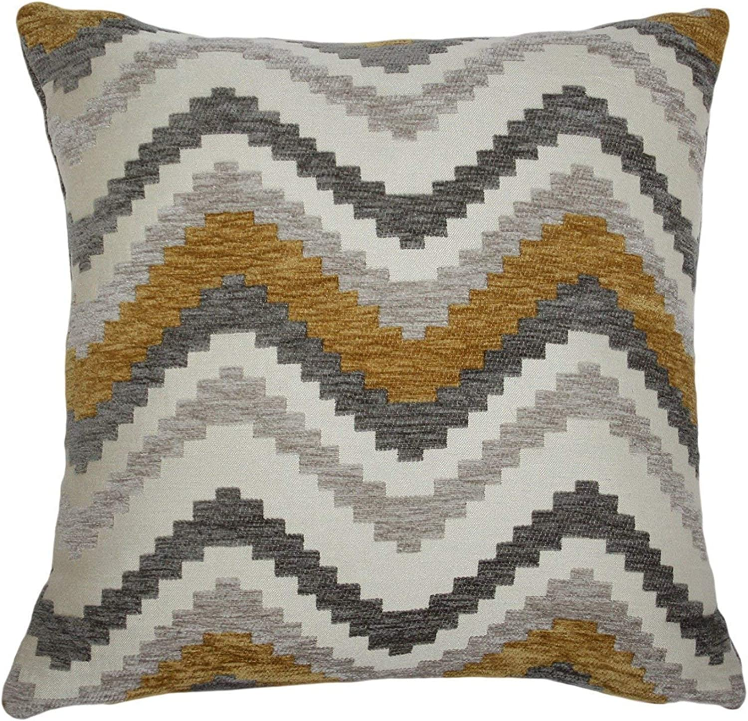 McAlister Textiles Navajo   Woven Pillow Cover Sham in Yellow & Grey   Square 20x20 Inches   Striped Zig Zag Chevron Aztec Decorative Zip Pillowcase Cushion Case Mgoldccan Boho Accent Decor