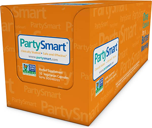 Himalaya PartySmart For Hangover Prevention Alcohol Metabolism And A Better Morning After 10 Capsules 250mg 1 Pack