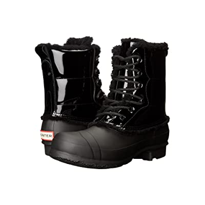 Hunter Original Patent Leather Lace-Up Shearling Lined Boot (Black) Women
