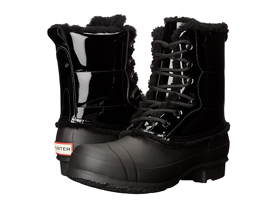 Hunter Original Patent Leather Lace-Up Shearling Lined Boot (Black) Women's Rain Boots