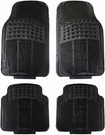 Fifth Gear 4pc Heavy Duty Universal Black Rubber Car Mat Set Non Slip Grip