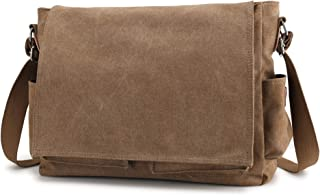 On Clearance Sale Iswee Canvas Messenger Bag Fit 15.6 inch Laptop Shoulder Bag Work Bag (Brown)