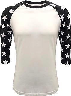 Star Sleeves Raglan T-Shirt Baseball Style Tee Patriot Team (Adult & Youth)