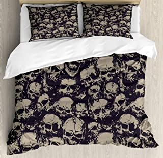 Ambesonne Skull Duvet Cover Set, Grunge Scary Skulls Sketchy Graveyard Death Evil Face Horror Theme Design, Decorative 3 Piece Bedding Set with 2 Pillow Shams, Queen Size, Charcoal Grey