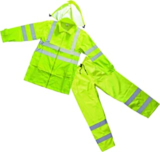Forester Men's Class 3 High Visibility Rain Suit - Lime, Large, Model Number 7252G-L